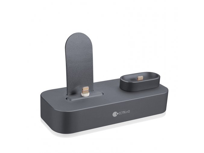 coteetci 2in1 lightning iphone airpods charging dock gray 1
