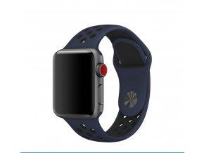 handodo double silikonovy pasek pro apple watch 1 2 3 42mm blue black modro cerny ien326073