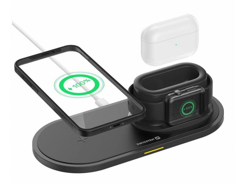 SWISSTEN Wireless 3in1 15W bezdrátová nabíječka