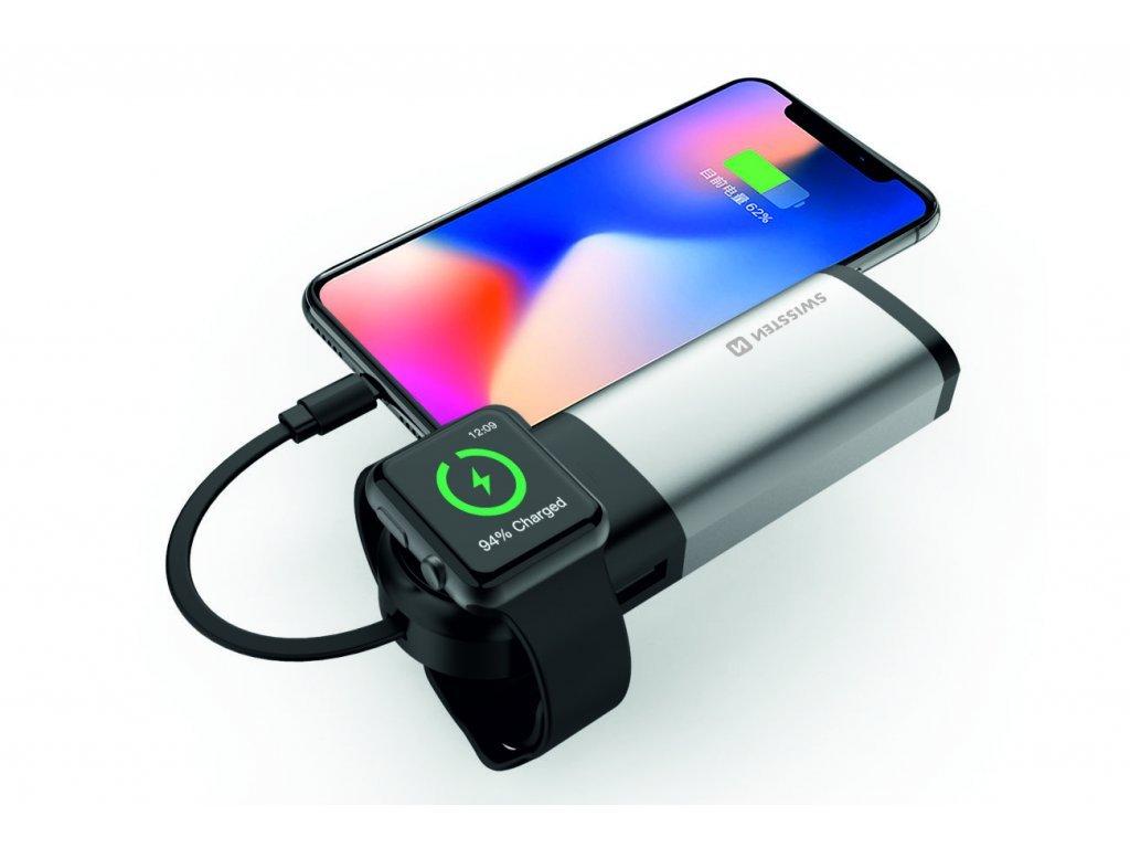 SWISSTEN powerbanka 2v1 s kapacitou 6 700 mAh, certifikací MFi a speciální bezdrátovou nabíječkou pro Apple Watch