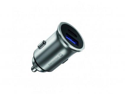SWISSTEN CL adaptér Power Delivery + Quick Charge, USB-C , 36 W, kovové tělo