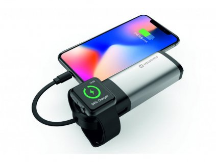 SWISSTEN 2v1 powerbanka 6700 mAh s certifikací MFI a speciální bezdrátovou nabíječkou pro Apple Watch