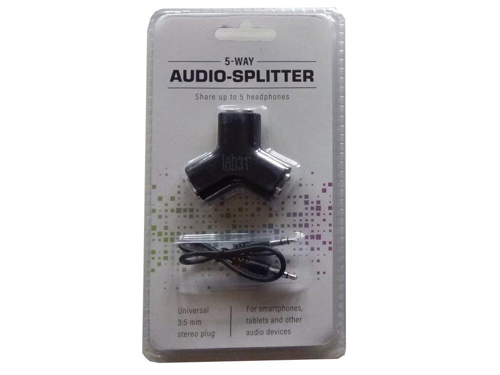 Audio 3,5mm jack rozdělovač - Lab31 - černý