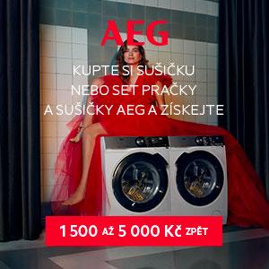 AKCE CASHBACK AEG na vybrané sušičky, pračky kombinované se sušičkou a sety pračka a sušička