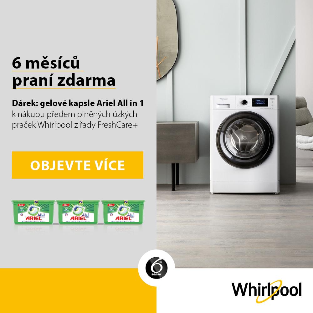 Kupte vybranou pračku Whirlpool a získejte zásobu gelových kapslí Ariel 3v1 na 6 měsíců praní ZDARMA