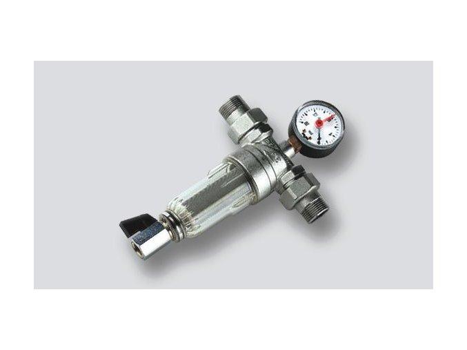 mechanický filtr na teplou vodu s monometrem
