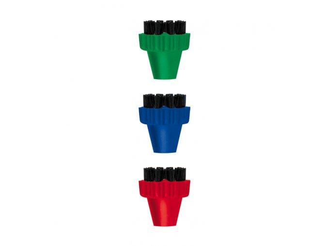 PAEU0296 set 3 ks barevnych kartacku nylonova vlakna pro polti Vaporetto Lecoaspira Unico