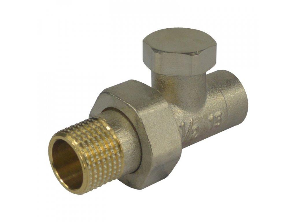 """Šroubení radiátorové uzavíratelné přímé pájecí, 1,2""""x15 mm"""