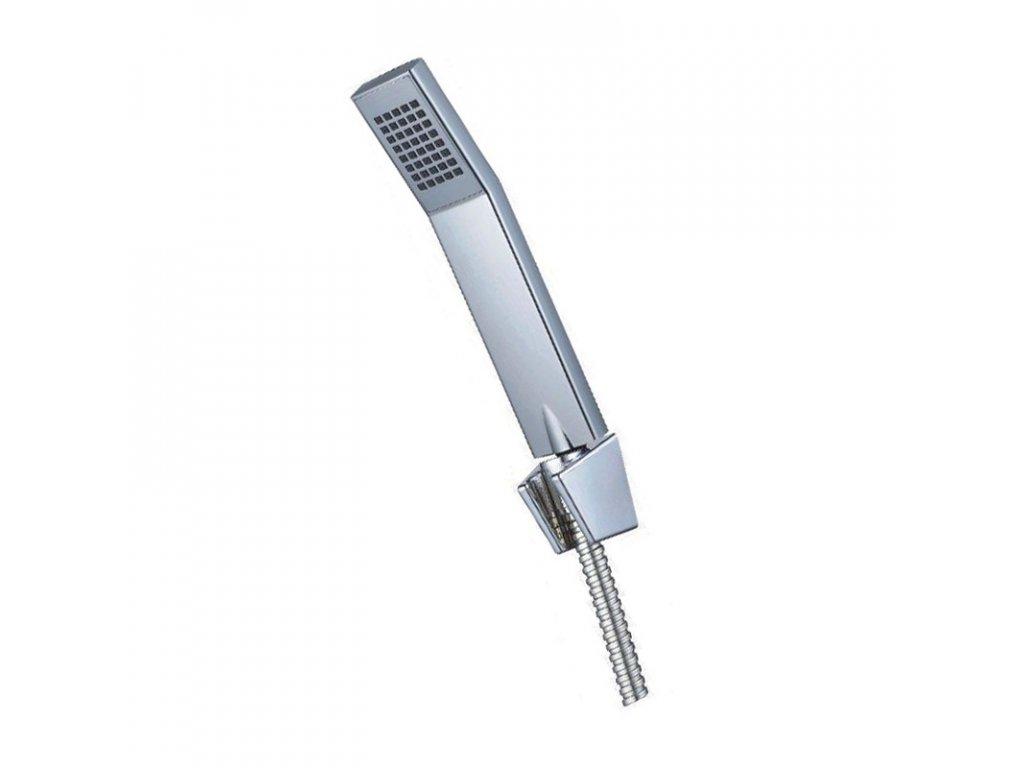 Sprchová souprava, jednopolohová sprcha hranatá 4 x 7 cm, dvouzámková nerez hadice