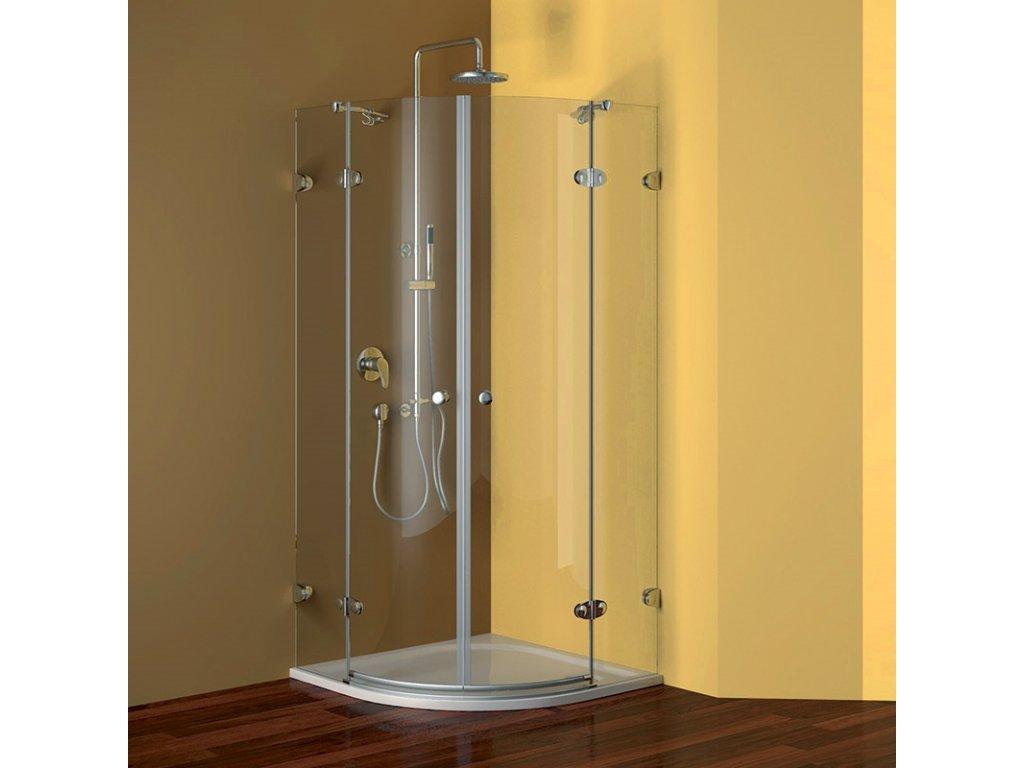 Sprchový kout, Fantasy, čtvrtkruh, 90 cm, R550, chrom ALU, sklo Čiré, panty oválné