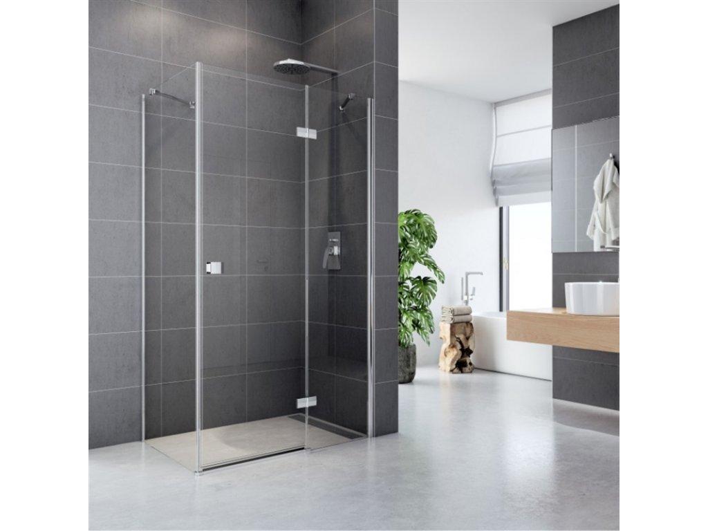 Sprchový kout, Fantasy, obdélník, 120x100 cm, chrom ALU, sklo Čiré, dveře a pevný díl