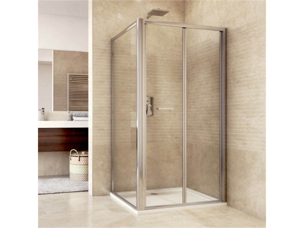 Sprchový kout, Mistica, obdélník, zalamovací dveře a pevný díl, chrom ALU