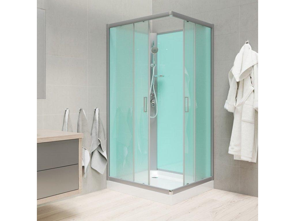 Sprchový box, čtvercový, 90x90 cm, satin ALU, sklo Point, zadní stěny zelené