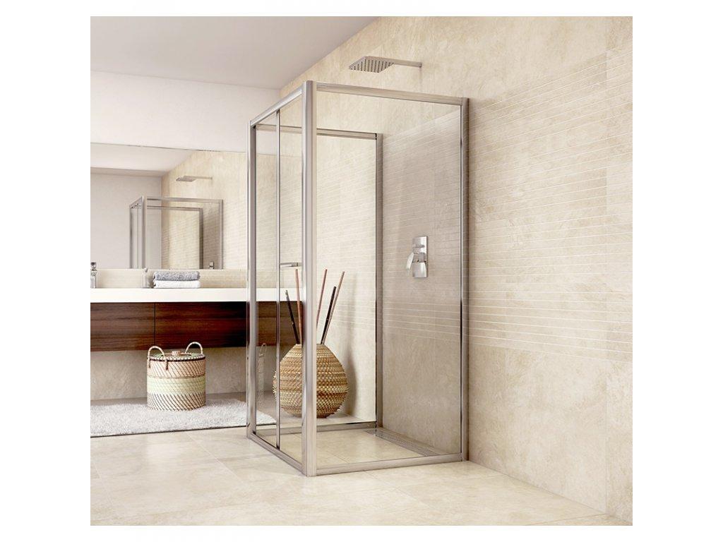 Sprchový kout, Mistica, čtverec, 100x100x100x190 cm, chrom ALU, sklo Chinchilla
