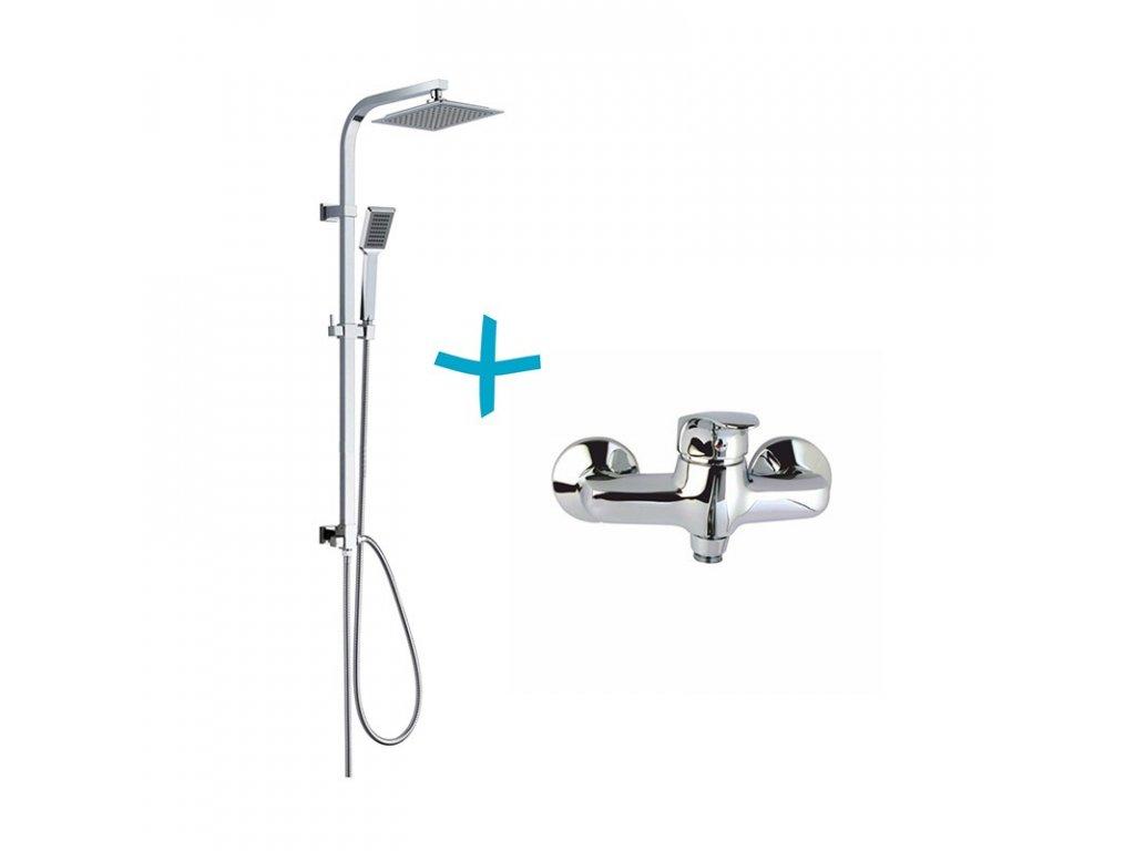 Sprchová souprava Sonáta-plast. hlavová sprcha a jednopolohová ruční sprcha vč. sprch. baterie 100mm