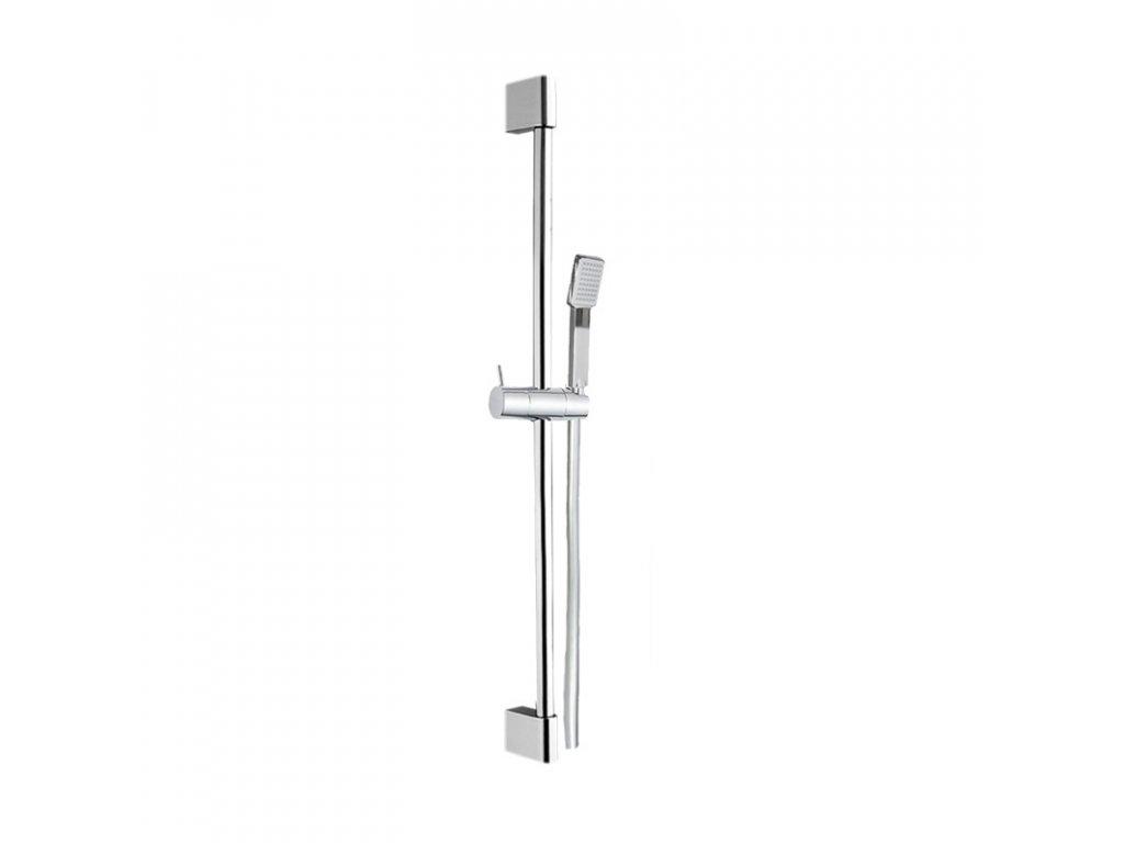 Sprchová souprava, jednopolohová sprcha, šedostříbrná hadice, systém zabraňující překroucení
