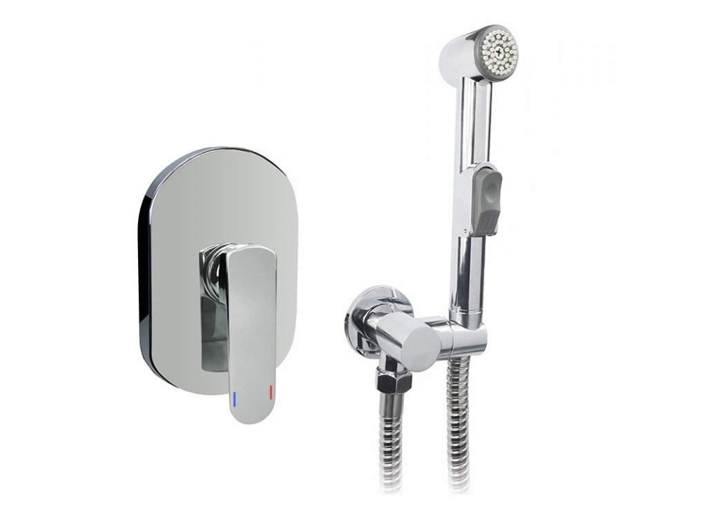 Podomítková baterie s bidetovou sprchou, Mada, Mbox, oválný kryt, chrom