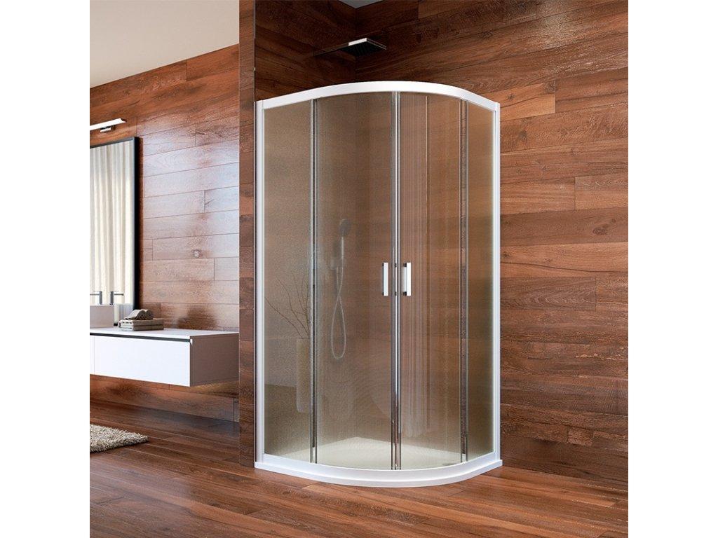 Sprchový kout, Lima, čtvrtkruh, 90x90x190 cm, R 550, bílý ALU, sklo Point