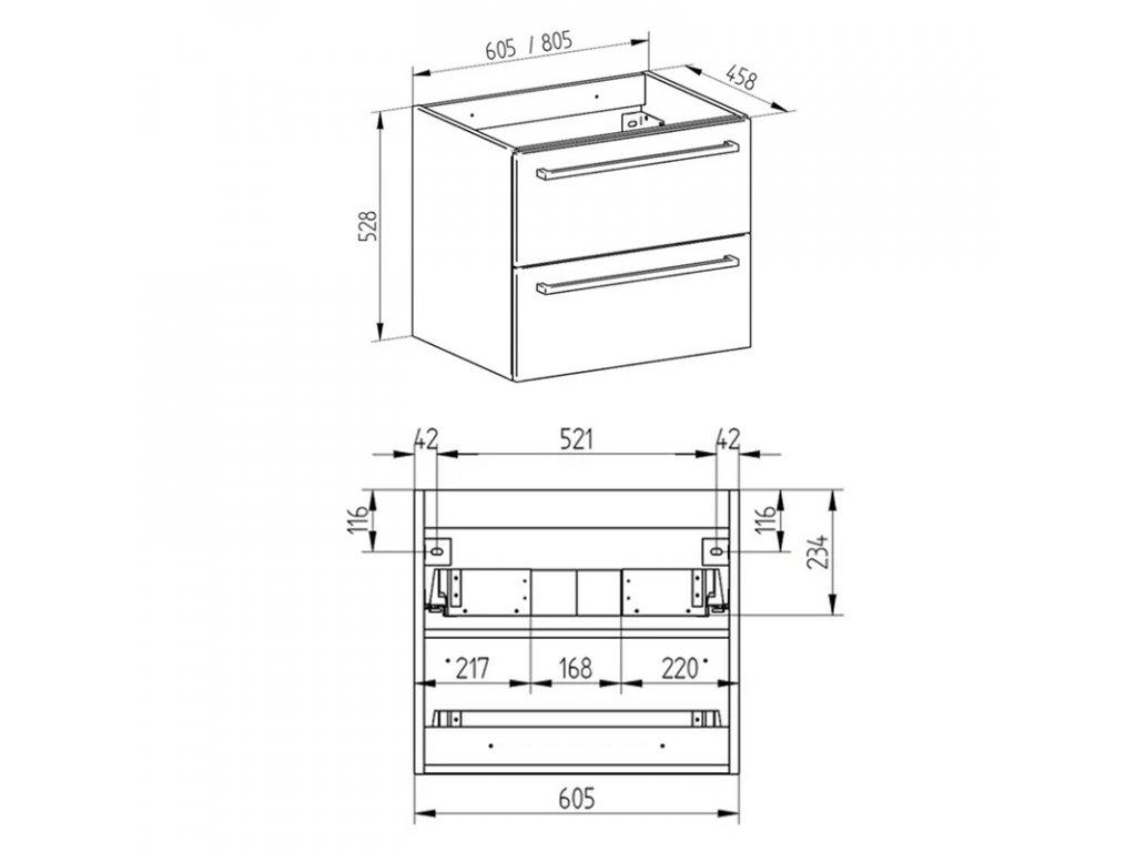 Koupelnová skříňka s keramickým umyvadlem 80 cm