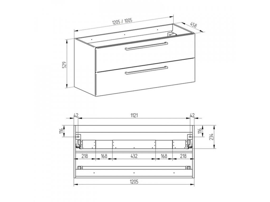 Bino koupelnová skříňka s umyvadlem z litého mramoru 100 cm