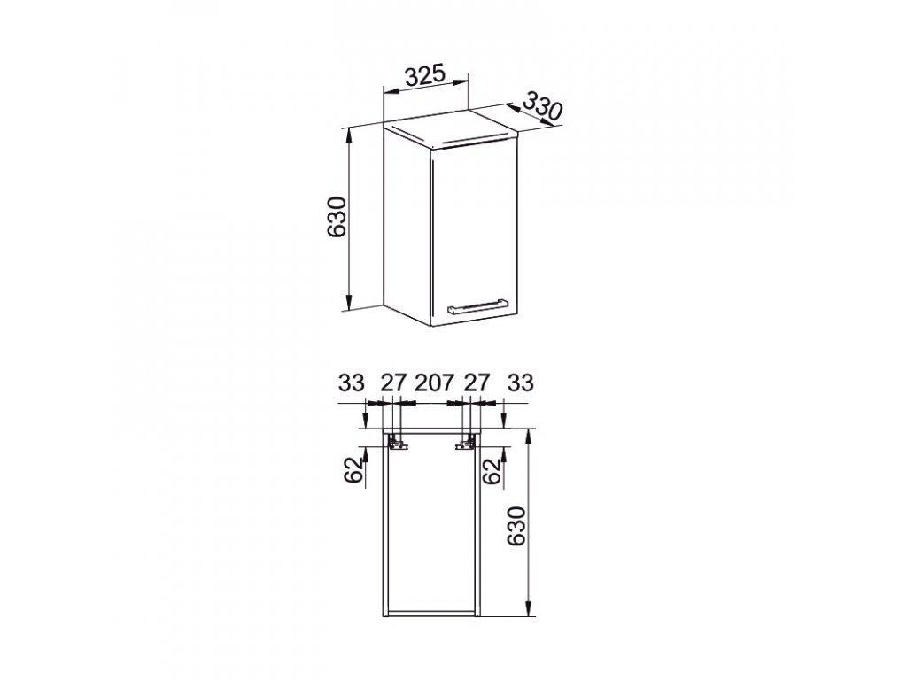 Koupelnová skříňka závěsná, horní