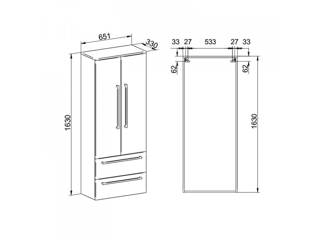 Bino koupelnová skříňka vysoká 163 cm, závěsná bez nožiček