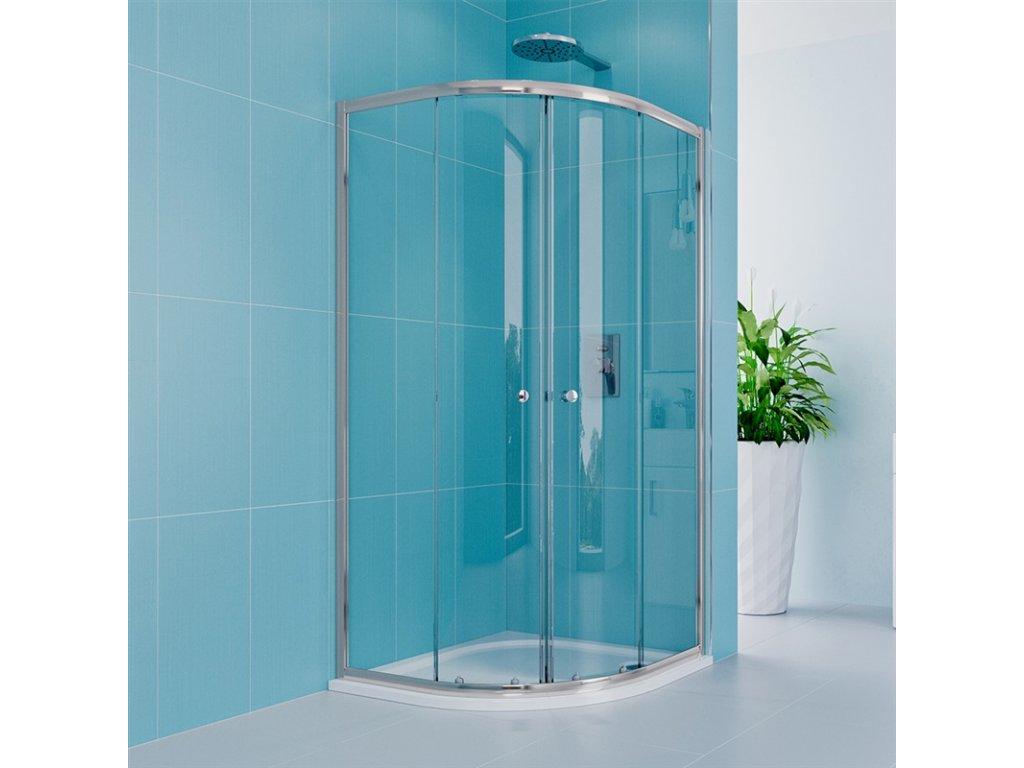 Sprchový set Kora Lite se sprchovou vaničkou nebo žlabem, čtvrtkruh, 90 cm, chrom, čiré