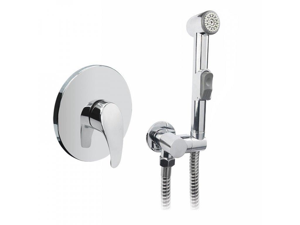 Podomítková baterie s bidetovou sprchou, Sonáta, Mbox, kulatý kryt, chrom