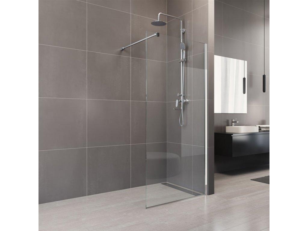 Sprchová stěna WALK IN, Novea, chrom ALU, sklo Čiré