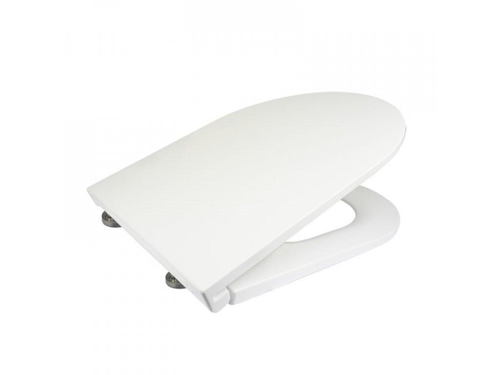 Samozavírací WC sedátko slim, duroplast, bílé, s odnímatelnými panty CLICK