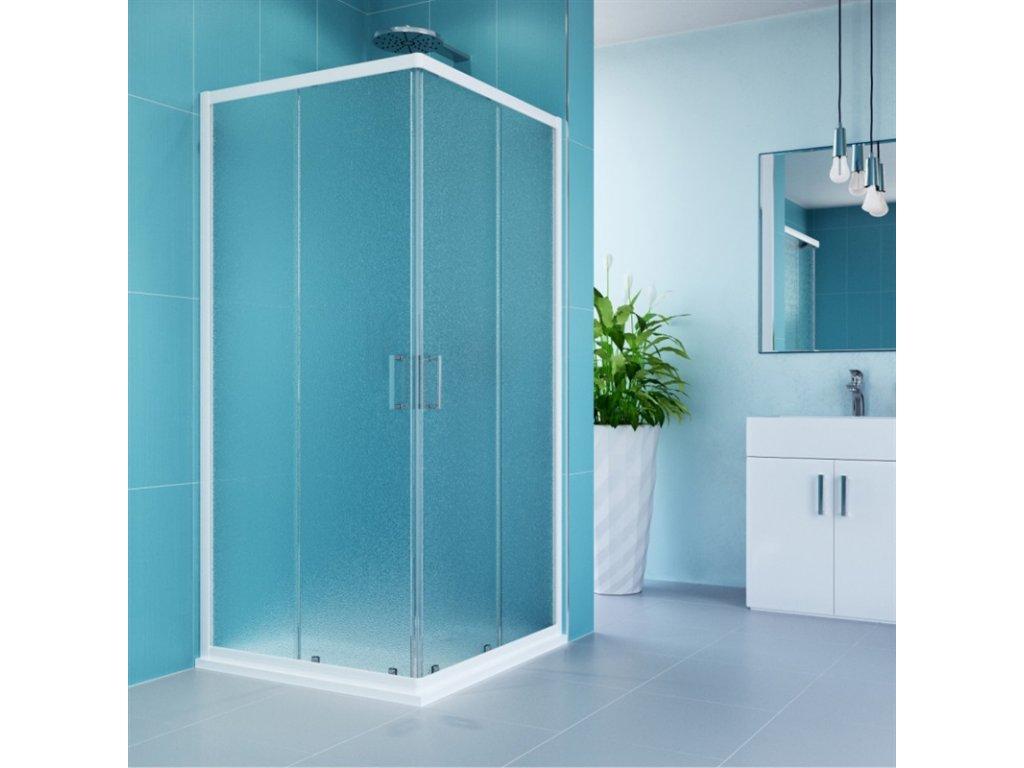 Sprchový kout, Kora, obdélník, 90 x 80 cm, bílý ALU, sklo Grape