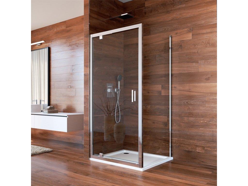 Sprchový kout, Lima, čtverec, pivotové dveře a pevný díl, chrom ALU