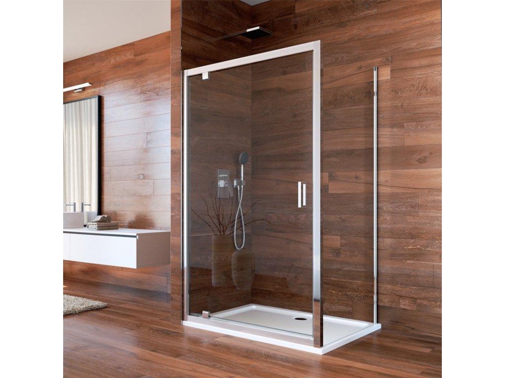 Sprchový kout, Lima, obdélník, pivotové dveře a pevný díl, chrom ALU