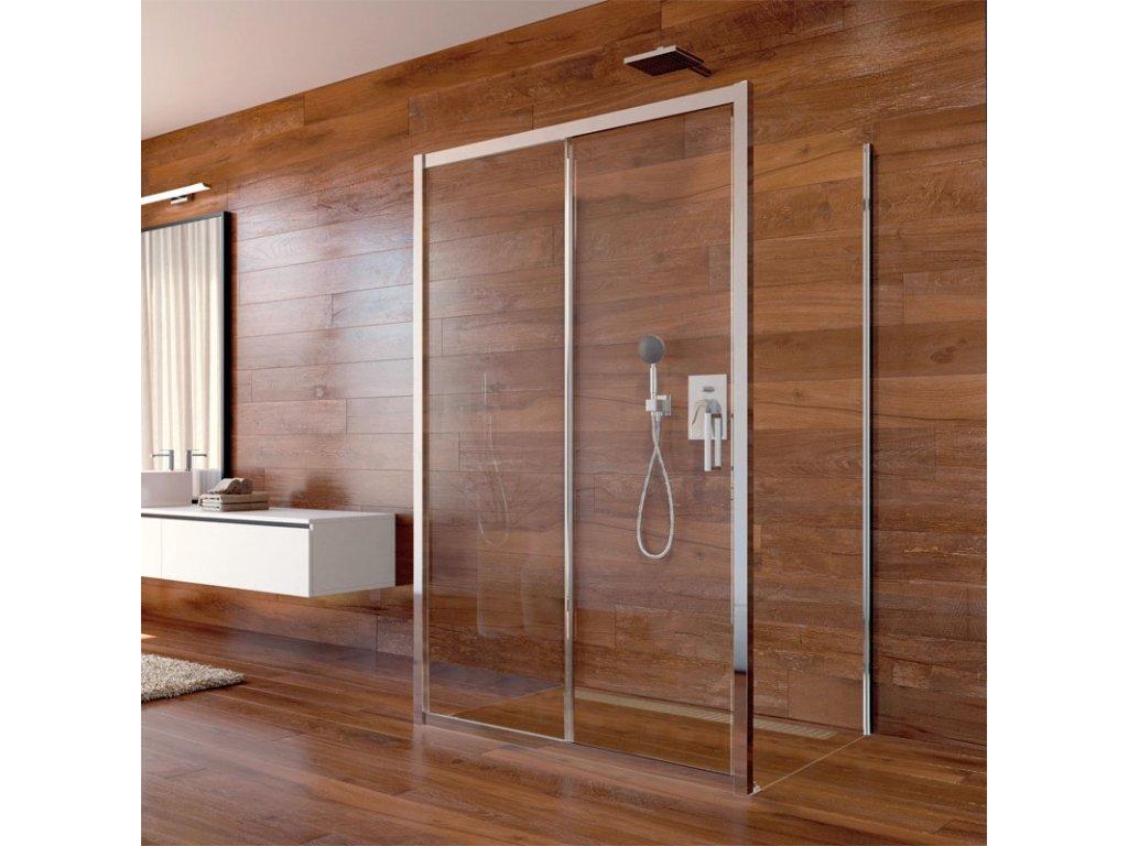 Sprchový kout, Lima, obdélník, pev.díl x zasunovací dveře x pev.díl, chrom ALU