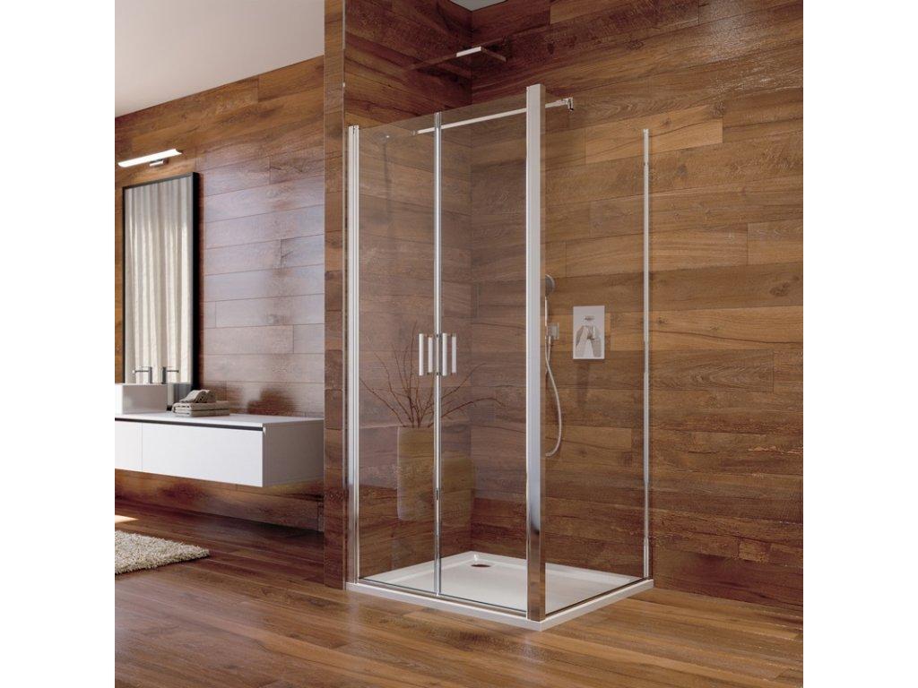 Sprchový kout, Lima, čtverec, chrom ALU, sklo Čiré, dveře lítací