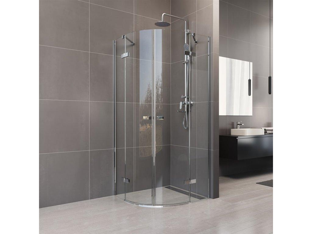 Sprchový kout, Novea, R 550, 90x90x200 cm, pantový, chrom ALU, sklo čiré 6 mm, EC