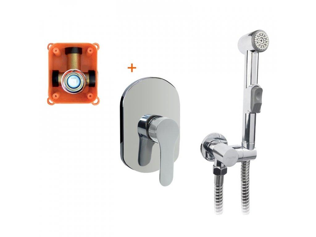 Podomítková baterie s bidetovou sprchou, Zuna, Mbox, oválný kryt, chrom