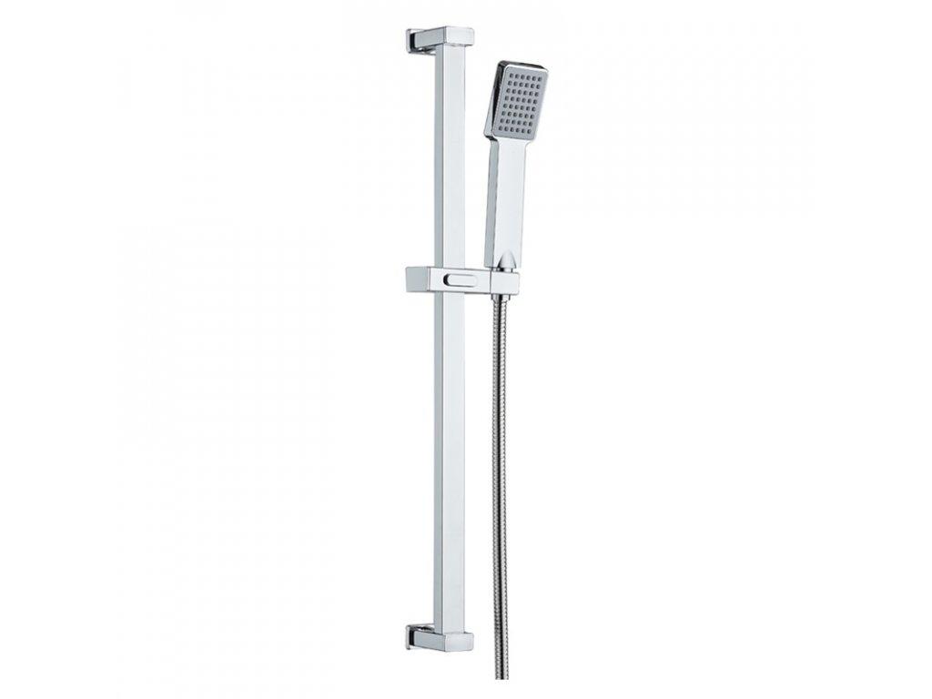Sprchová souprava, jednopolohová sprcha, posuvný držák, dvouzámková nerez hadice