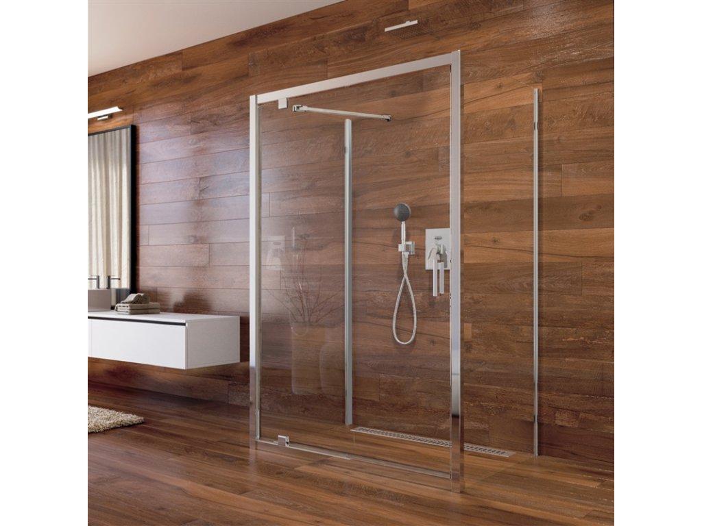 Sprchový kout  Lima, obdél.,pivot. dvře, 2xboční stěna,  chrom ALU, sklo  6mm