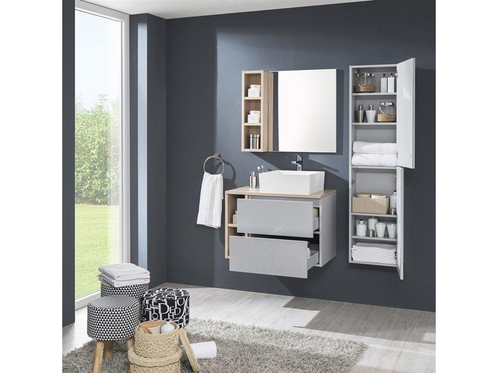 Aira desk, koupelnová skříňka, bílá, dub, šedá, 2 zásuvky, 80 cm