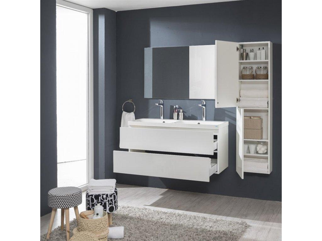 Aira desk, koupelnová skříňka, bílá, dub, šedá, 2 zásuvky, 120 cm