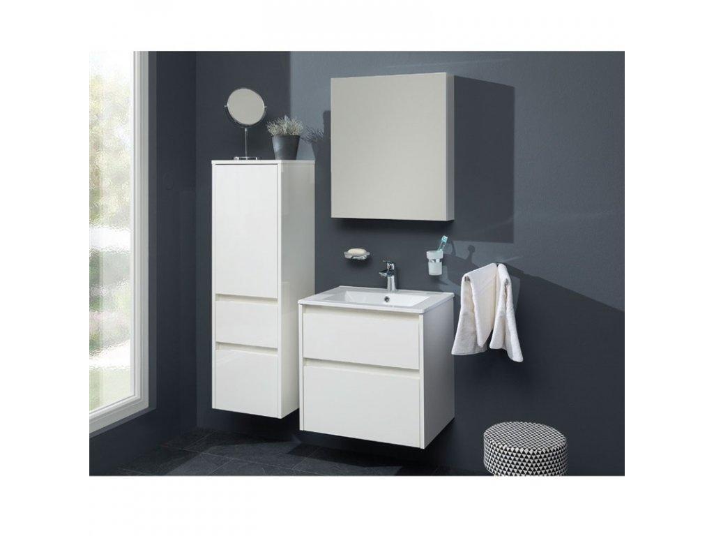 Aira, koupelnová skříňka, galerka, bílá, dub, 600x700x140 mm