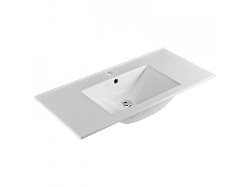 Aira, koupelnová skříňka s keramický umyvadlem 100 cm, bílá, dub, šedá