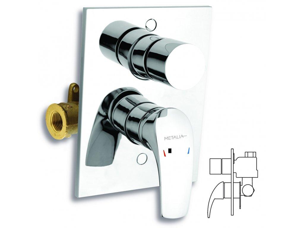 Vanová sprchová baterie s přepínačem Metalia 57 chrom