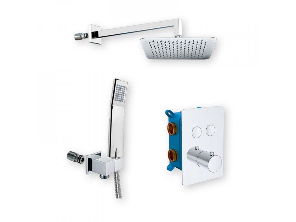 Sprchová sada s termostatickou podomítkovou tlačítkovou baterií - 2-cestná - hranatý kryt