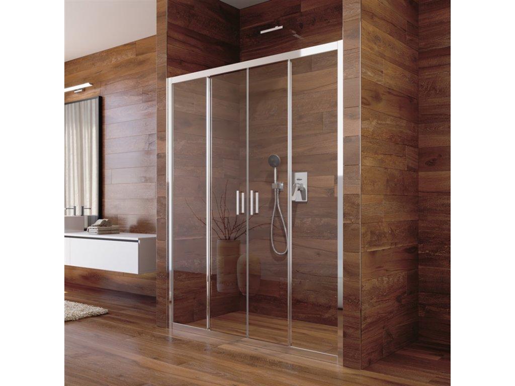 Sprchové dveře, Lima, čtyřdílné, zasunovací, chrom ALU, sklo Čiré