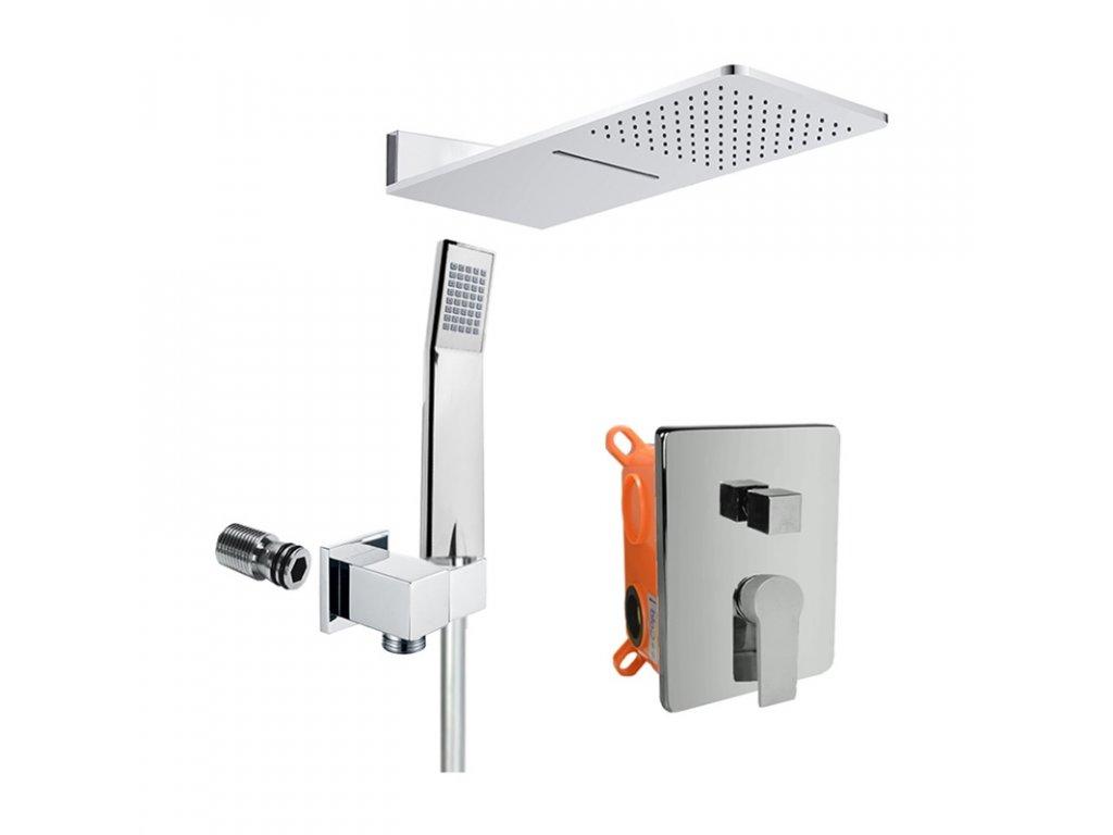 Sprchový set s termostatickou podomítkovou tlačítkovou baterií - 3-cestná - hranatý kryt