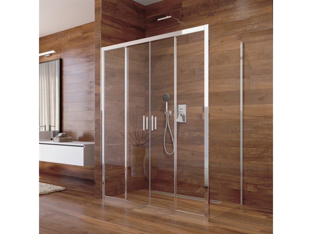 Sprchový kout, Lima, obdélník, výša 190 cm, chrom ALU, sklo Čiré