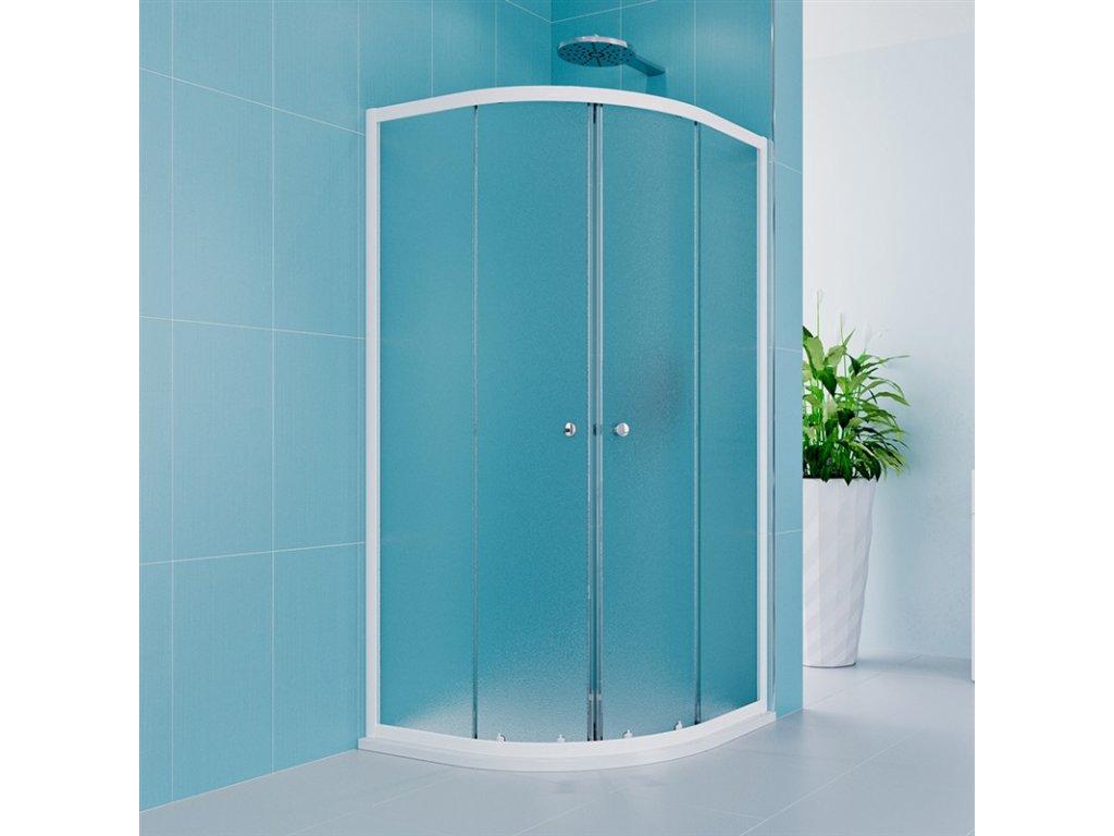 Sprchový kout, Kora Lite, čtvrtkruh, 90 cm, R550, bílý ALU, sklo Grape