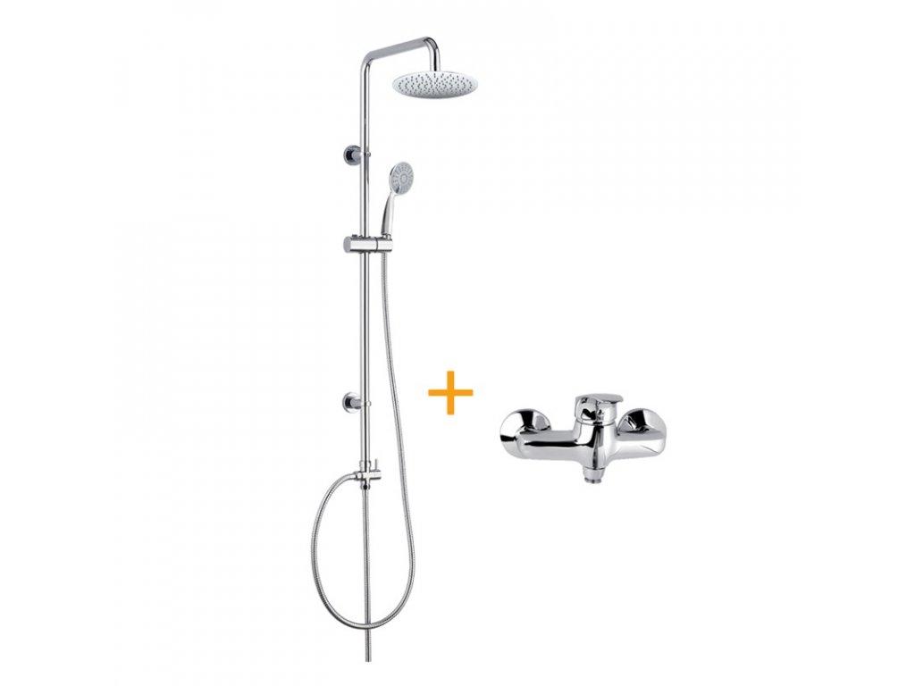 Sprchová souprava Sonáta, plastová hlavová sprcha a jednopolohová ruční sprcha včetně baterie Sonáta